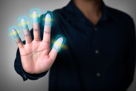 scanning: Futuristic fingerprint scanning device biometric security system