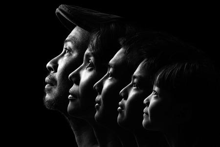 negro: Familia asiática Retrato en Blanco y Negro