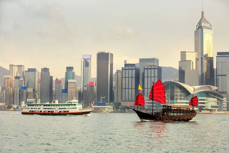 ling: Duk Ling Ride Traditional wooden sailboat sailing in victoria harborHong Kong