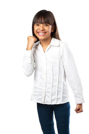 overjoyed: Overjoyed little asian girl Isolated over white