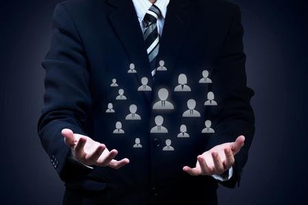 recursos humanos: De atención al cliente, sindicales, seguros de vida, de CRM de gestión de relaciones con los clientes y de recursos humanos conceptos. Foto de archivo