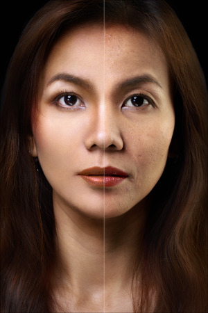 aging face: Face of beautiful asian woman before and after retouch