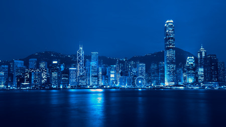 Victoria harbour skyline at night in Hong Kong, Duo color tone