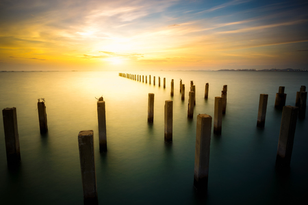serene landscape: Long exposure of sea Stock Photo