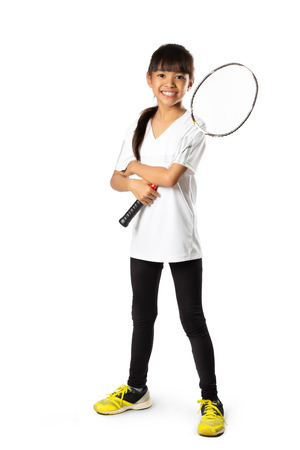 badminton: Little asian girls with badminton, Isolate over white