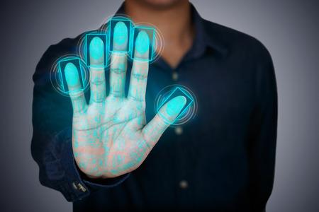 미래의 지문 스캐닝 장치, 생체 보안 시스템 스톡 콘텐츠