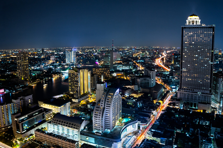 city by night: Bangkok cityscape business district with high building at dusk, Bangkok Thailand