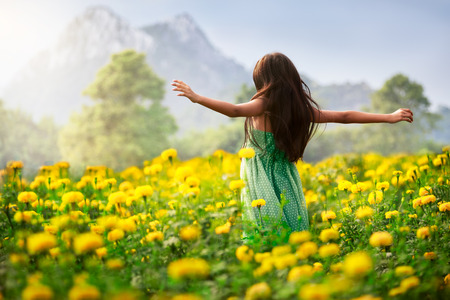 Little asian girl in flower fields, Outdoor portrait Stock Photo