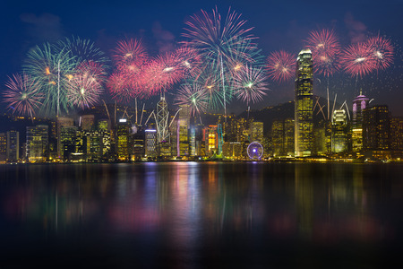 firework display: Fireworks at victoria harbour hong kong