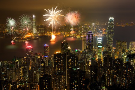 national: Fireworks at victoria harbour, Victoria Peak, hong kong