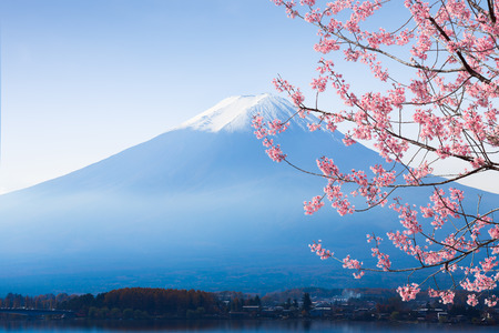 Mt. fuji and cherry blossom at lake kawaguchiko Stock Photo