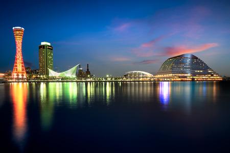 神戸港の夜、大阪、日本