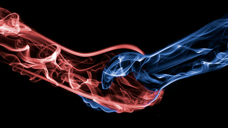 partnership power: Fire flame shaking hand with water ice smoke