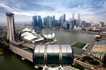 singapore: Marina bay from top of Singapore flyer, Singapore Editorial