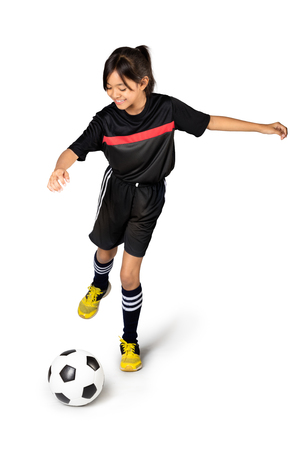 futsal: Young asian girl holding soccer ball, Isolated over white