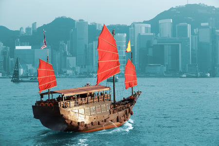 HONG KONG: Duk Ling Ride, Hong Kong harbour with tourist junk