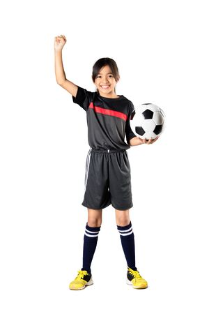 futsal: Young asian girl holding soccer ball and hand up, Isolated over white
