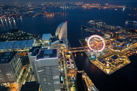 night views: Yokohama bay cityscape at twilight Stock Photo