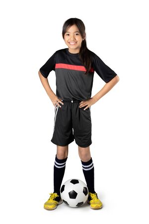 futsal: Young asian girl playing soccer, Isolated over white