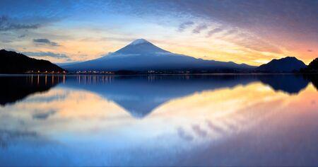 lake sunset: Kawaguchiko lake at sunset, Japan Stock Photo