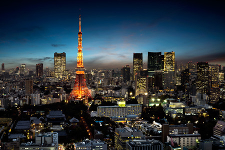 황혼, 도쿄 일본에서 도쿄 도시의 스카이 라인
