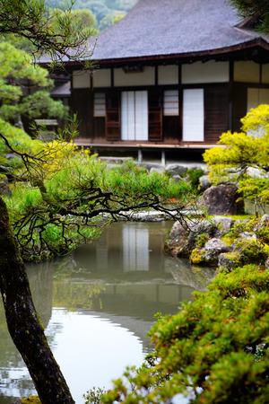japanese gardens: Japanese Garden in Ginkakuji Temple, Kyoto Japan Stock Photo