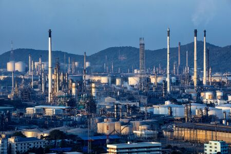 pipeline: Oil refinery factory in the morning