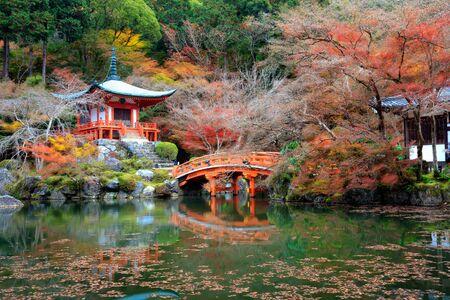 cerezos en flor: temporada de otoño, El color deja cambiar de color rojo en el templo, Daigo-ji es un templo budista Shingon en Fushimi-ku