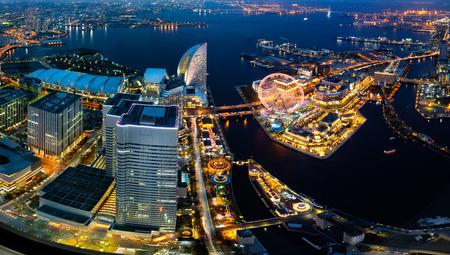 districts: Yokohama bay cityscape at twilight Stock Photo