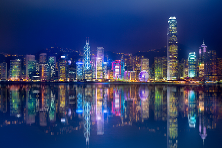 Hong Kong Island van Kowloon Stockfoto