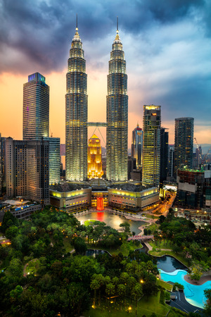 Top view of kuala lumper skyline at twilight Editorial