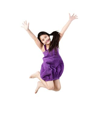 tied girl: Little girl jumps, Isolated on white