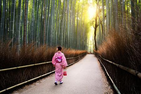 The bamboo groves of Arashiyama, Kyoto, Japan