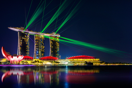 laser show: Beautiful laser show at the marina bay waterfront in singapore