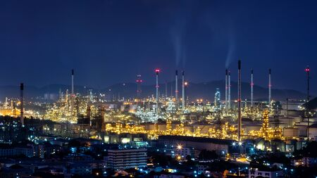 Refinery plant area at night