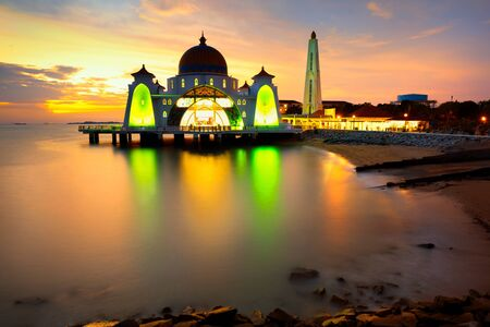 straits: Malacca straits mosque at sunset