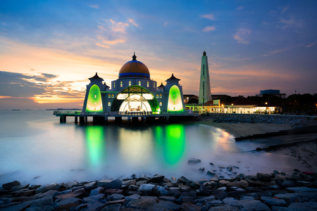 straits: Malacca straits mosque at sunset