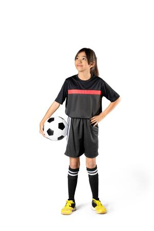 ball isolated: Young asian girl holding soccer ball, Isolated over white