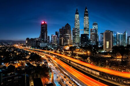 city traffic: Kuala lumpur skyline in the morning, Malaysia Stock Photo