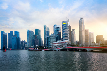 sunset city: Singapore city skyline at sunset