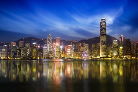 duo tone: Victoria harbour skyline at night in Hong Kong, Duo color tone