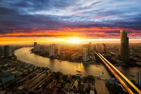 sunset city: Bangkok city at sunset