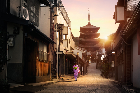 Yasaka Pagoda en Sannen Zaka Street in het Morning, Kyoto, Japan Stockfoto