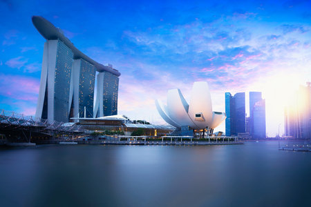 officially: Marina bay Singapore at dusk, Singapore city skyline. Officially the Republic of Singapore