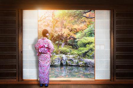 The Japanese Garden Visible Through The Window Stockfoto