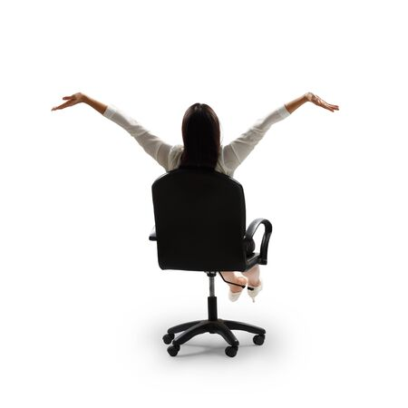 sit up: Rear view of happy young business woman, Isolated over white Stock Photo