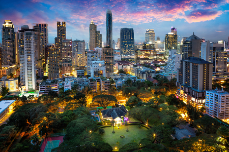 Bangkok city skyline at dusk, Business district area of Bangkok Thailand