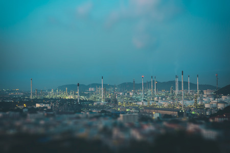 Oil refinery factory in the morning, Vintage color tone Stock Photo