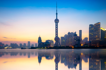 Shanghai skyline in the morning with reflection, Shanghai China 스톡 콘텐츠