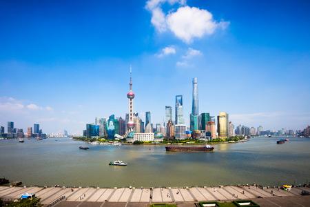 huangpu: Shanghai skyline, Panoramic view of shanghai skyline and huangpu river, Shanghai China Editorial